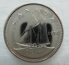 1974 CANADA 10 CENTS PROOF-LIKE DIME COIN