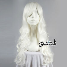 Fashion White Helloween 70CM Long Curly Anime Cosplay Fashion Heat Resistant Wig