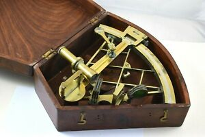 Vintage Brass Marine Sextant by Sestral London Serial No 3496 in Mahogany Box