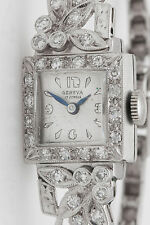 Antique 1930s Orange Blossom GENEVA 14k White Gold Diamond Ladies Dress Watch