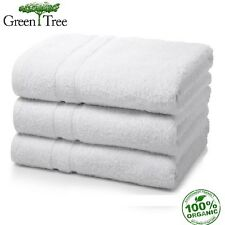 6 PACK WHITE GREENTREE COLLECTION 22X44 HOTEL BATH TOWELS 100% ORGANIC COTTON