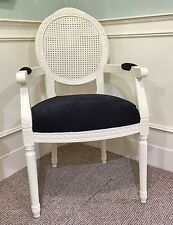 French Louis Armchair White Black Shabby Chic Antique Style Bedroom Velvet Cream