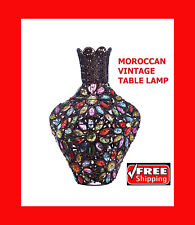 Moroccan Vintage Jeweled Cutwork Bronze Table Lamp with Multi Coloured Vase New