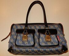 Dooney And Bourke Signature Bag Denim Leather Trim Handbag Purse