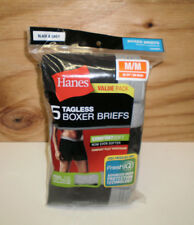 New Men's Hanes Value Pack 5 Boxer Briefs Black & Gray Size Medium  ( 32 -34)