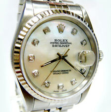 MENS STAINLESS STEEL ROLEX DATEJUST, QUICKSET W/ MOTHER OF PEARL DIAMOND DIAL