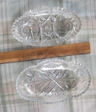 Vtg./Antique Cut Glass Relish Dishes/Lot of 2