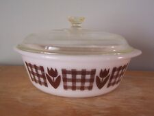 VINTAGE 2 QT GLASBAKE BROWN TULIP & GINGHAM CASSEROLE DISH WITH LID