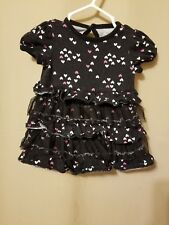 Circo -Black Ruffled Dress with White and Pink Little Hearts Size 3M     IR1