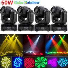 4X 60W Bühnenbeleuchtung  LED Gobo RGBW Moving Head Licht Disco Party KTV Spot