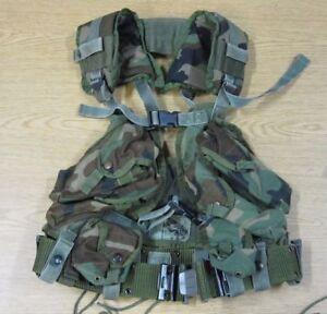 COMPLETE SET UP USGI ENHANCED ARMY TAC VEST WITH WEB BELT LOAD BEARING USA