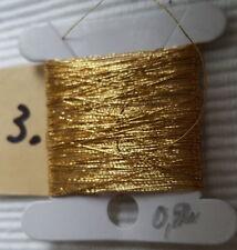 Antik:1 Kärtchen 10m Effekt Brokat GARN stickerei mittleres Gold  Ø 0,2 mm Nr.3
