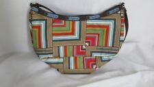 Le Sport Sac Small Striped Purse Handbag Brown Orange Blue Green Red