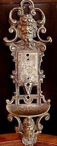 "ANTIQUE VICTORIAN MYTHOLOGICAL DEVIL FAUN PAN DOOR PLATE, CIRCA 1880s - 11"" Tall"