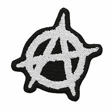ANARCHY WHITE EMBROIDERY BIKER PATCH