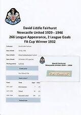 David Fairhurst Newcastle Utd 1929-1946 Muy Raro Orig Firmada A Mano cutting/card