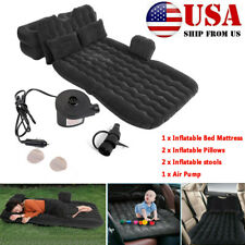 Us Inflatable Travel Car Mattress Air Bed Camping Back Seat Sleep Rest 2 Pillows