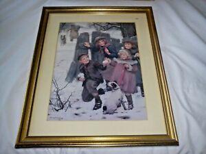LARGE ARTHUR J. ELSLEY PICTURE PRINT 1901 ORIGINAL GILT FRAME & GLAZED PERFECT