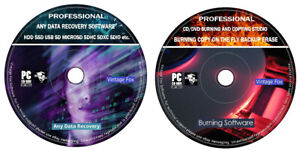 New CD DVD Burner Backup Erase Burn + HDD SSD USB SD Any Data Recovery Software