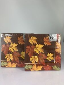 NWT PPD Autumn Leaves Cocktail Paper Napkin, 2 packs of 20, Thanksgiving