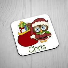 Personalised Square Coaster - Christmas Brown Owl with Presents