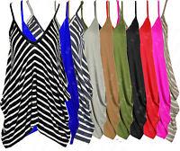 Romper Top Cami Vest Ladies Lagenlook V neck Loose Baggy Fit B36