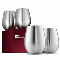Stainless Steel Wine Glasses Large & Elegant for Daily Events Set of 4 - 18 Oz.