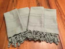 "POTTERY BARN NAPKIN SET 4 MINT GREEN EMBROIDERED 20"" Square + TASSELS"