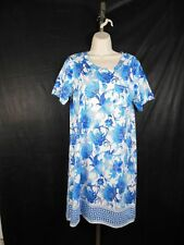Night Shirt gown L Large CHRISTOPHER & BANKS long turquoise blue floral comfy