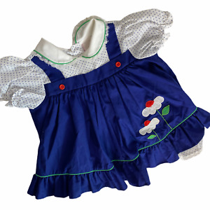 Vintage 80s Prairie Dress 24 Months Floral Overall Made in USA Cottagecore