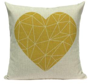 Yellow Heart Geometric Pillow Case Funny Throw Pillow 45x45cm Home Decor Pillow