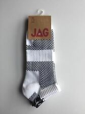 2 Pack - JAG Ankle Socks Arch Support White / Black Mens Size 6-10 RRP$17.95