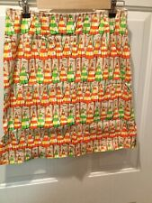 Eric Casuals Size 10 Beach Umbrella Skirt Knee Length Green Orange Cruise Vaca