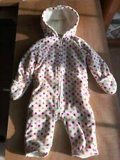 Old Navy Baby Snow Suit Bear Ears Hood White Polka dot Fleece 12-18m Infant Coat