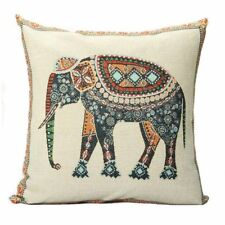 Indian Knitted Elephant Cotton Linen Throw Pillow Case Cushion Cover Decor J7O0