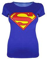 Superman Batman Print Ladies Varsity Vest T Shirt Top Size 08 10 12 14