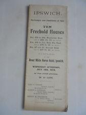 WOODBRIDGE BOROUGH ROAD IPSWICH SUFFOLK 1919 HOUSE AUCTION  SALES PARTICULARS