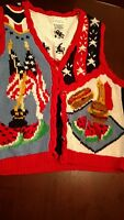 Fourth of July Patriotic Knit Vest Alexandra Bartlett Woman Eagle's Eye LARGE L