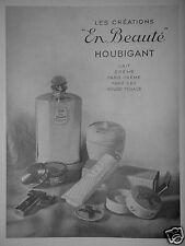 PUBLICITÉ 1934 CRÉATION EN BEAUTÉ HOUBIGANT LAIT CRÈME FARD ROUGE - ADVERTISING