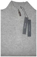 TAHARI LT HEATHER GRAY PLUSH 100% CASHMERE 1/4 ZIP MOCK NECK SWEATER JUMPER XL