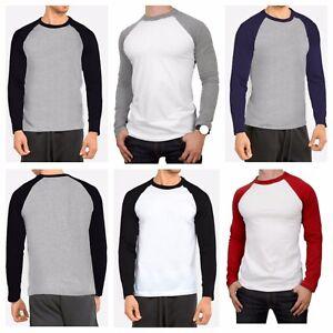 Men's Long Sleeve Raglan T-Shirt Baseball Hipster Tee Fashion Crew Neck S-2X