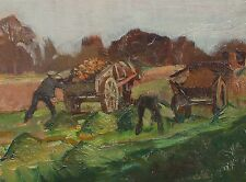 Vintage Farming Oil Painting Harvesting Mangolds by Margaret Theyre 1897-1977