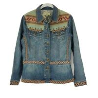 Coldwater Creek Womens Jean Jacket Blue Aztec Embellished Buttons Flap Pockets M