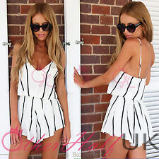 Petite V Neck Striped Jumpsuits & Playsuits for Women