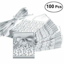 100x Wedding Favour Candy Gift Boxes With Ribbon Bowknot Silver