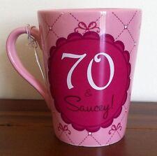RUSS 70th Happy Birthday Pink Ceramic Mug/Cup/Gift 14oz 70 & Saucey!
