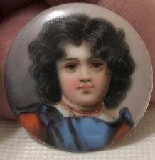 Kpm Quality Hand Painted 19th Century Lapel Button