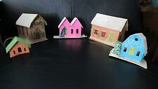 Set of 5 Vintage Cardboard Putz Christmas Houses 1 Ornament Church Brick Japan