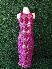 Balmain x H&M Pink Crystal Jeweled Sequin Embellished Long Shift Midi Dress 8