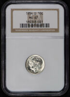 1954-D 10c SILVER ROOSEVELT DIME, NICE WHITE COIN *NGC MS67* LOT#S293